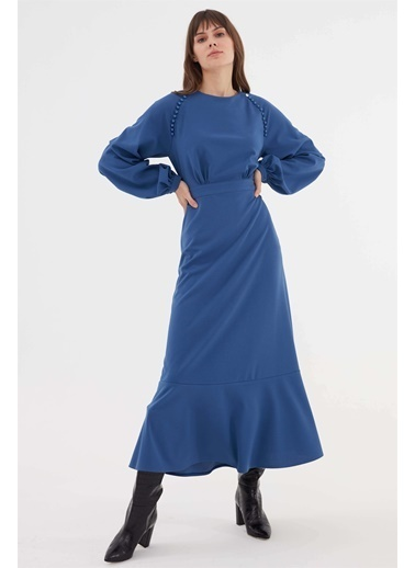 Vivencia Omuz Düğme Işlemeli Kadın Elbise Taba İndigo